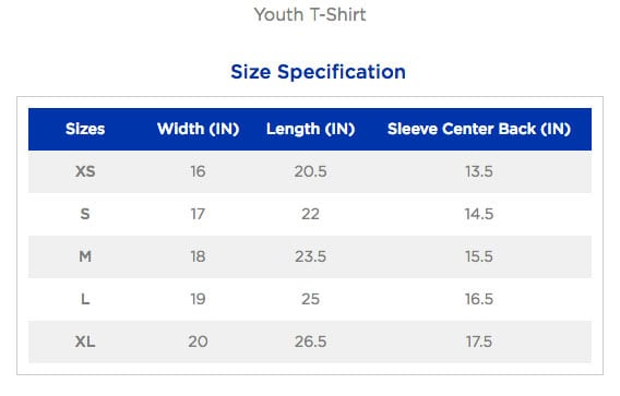 youth t-shirt size chart