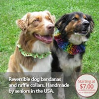 Reversible dog bandanas are handmade in the USA by seniors.