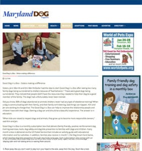 Maryland Dog Magazine Good Dog in a Box